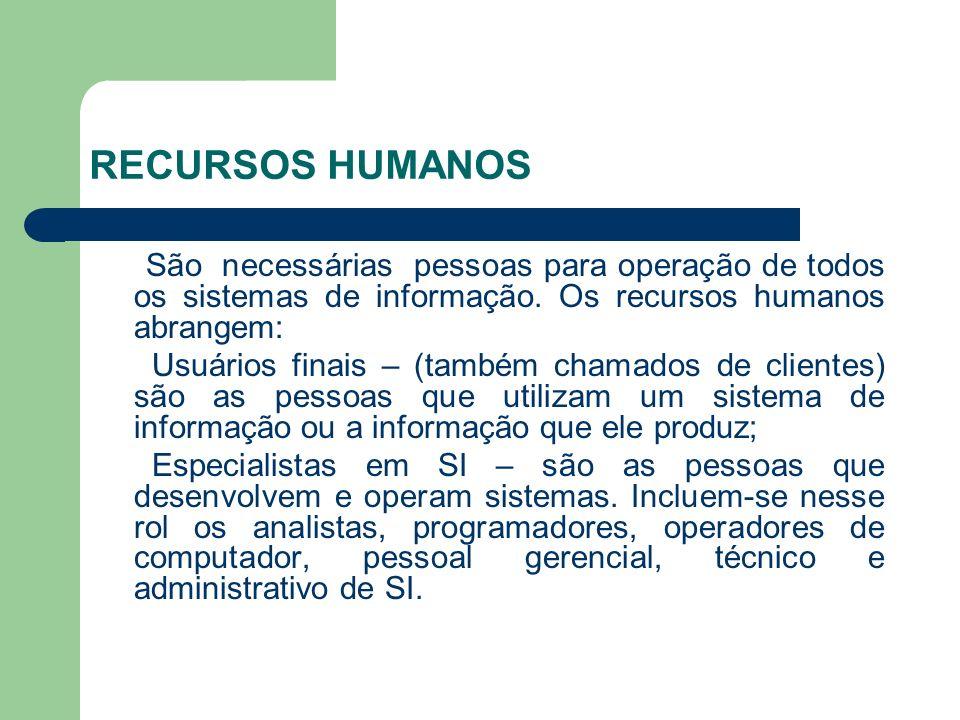 RECURSOS HUMANOS São necessárias pessoas para operação de todos os sistemas de informação. Os recursos humanos abrangem: Usuários finais – (também cha