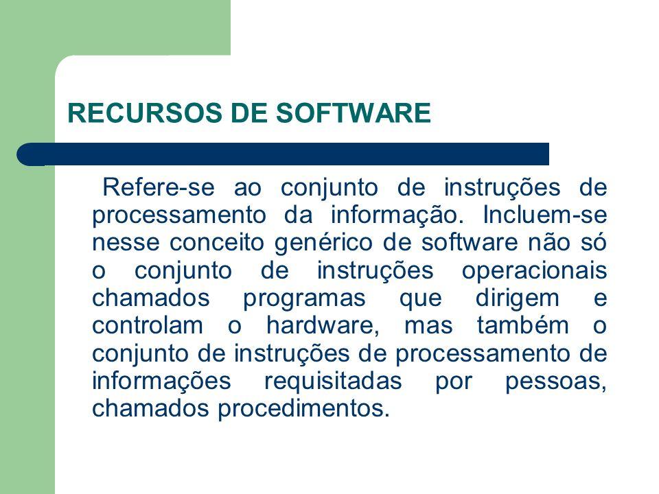 RECURSOS DE SOFTWARE Refere-se ao conjunto de instruções de processamento da informação. Incluem-se nesse conceito genérico de software não só o conju