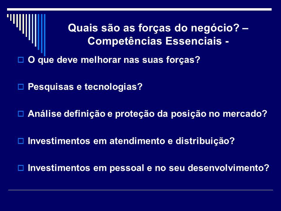 Quais são as forças do negócio? – Competências Essenciais - O que deve melhorar nas suas forças? Pesquisas e tecnologias? Análise definição e proteção
