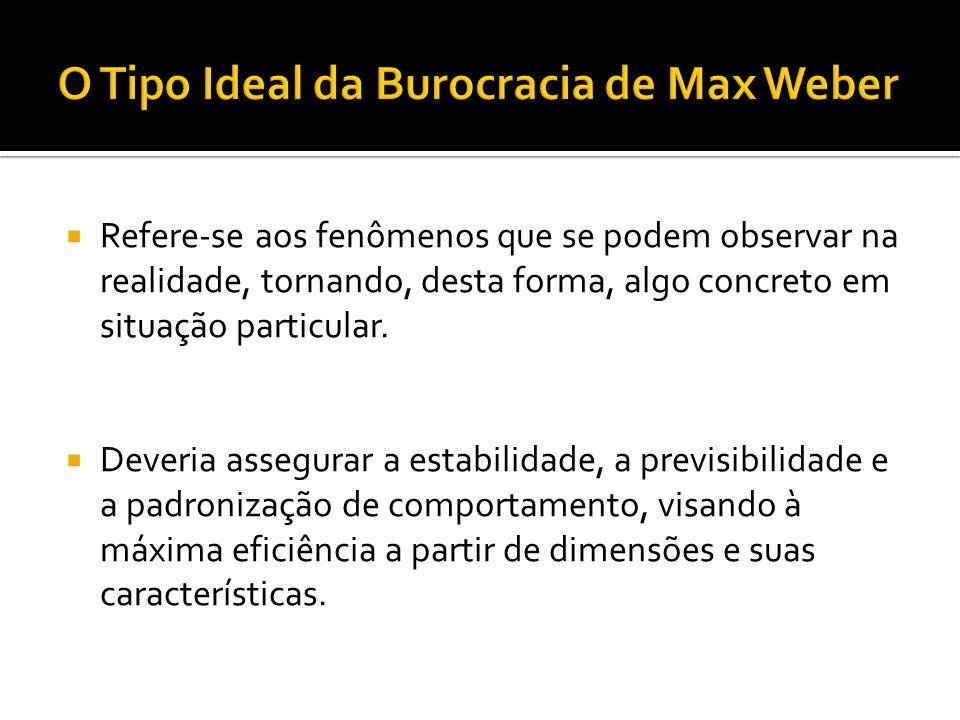 Os pressupostos que fundamentam a teoria burocrática de Max Weber estão centrados nos pressupostos do paradigma da previsibilidade, da certeza e da estabilidade, com o intuito de manter a ordem emanada das leis que conferem a autoridade racional-legal para os ocupantes de cargos.