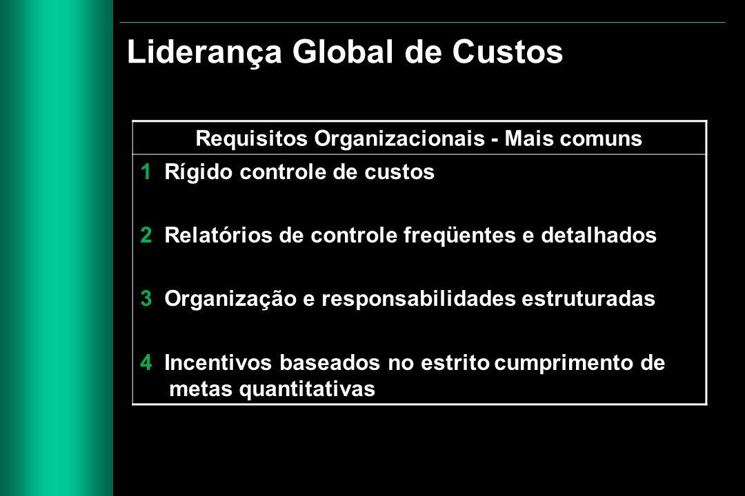 Requisitos Organizacionais - Mais comuns 1 Rígido controle de custos 2 Relatórios de controle freqüentes e detalhados 3 Organização e responsabilidade