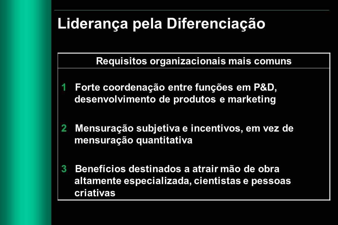 Requisitos organizacionais mais comuns 1 Forte coordenação entre funções em P&D, desenvolvimento de produtos e marketing 2 Mensuração subjetiva e ince