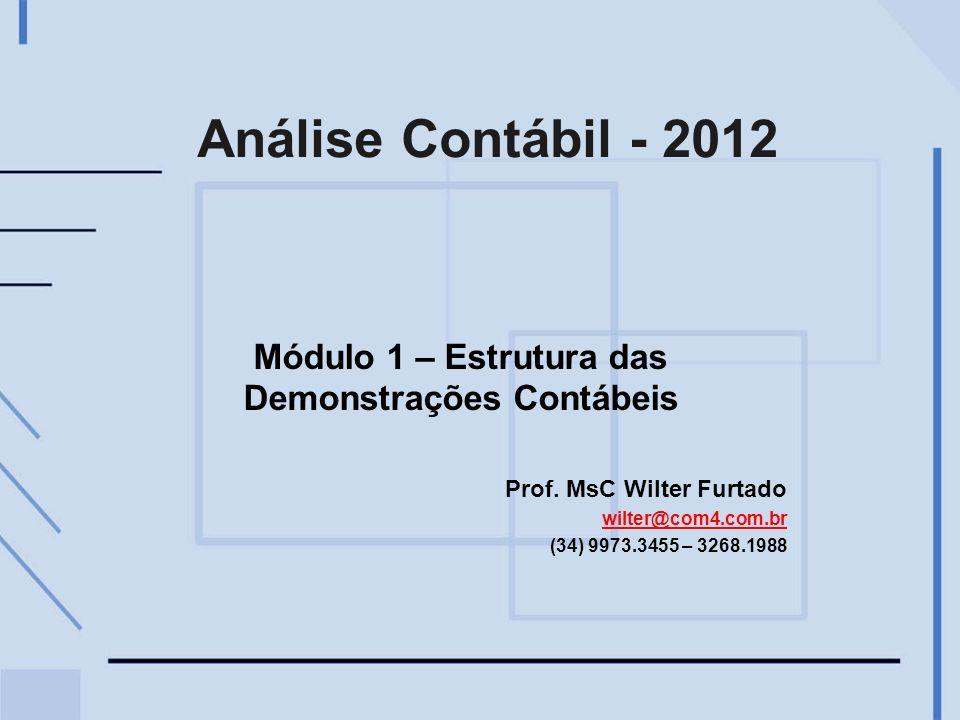 Análise Contábil - 2012 Módulo 1 – Estrutura das Demonstrações Contábeis Prof. MsC Wilter Furtado wilter@com4.com.br (34) 9973.3455 – 3268.1988