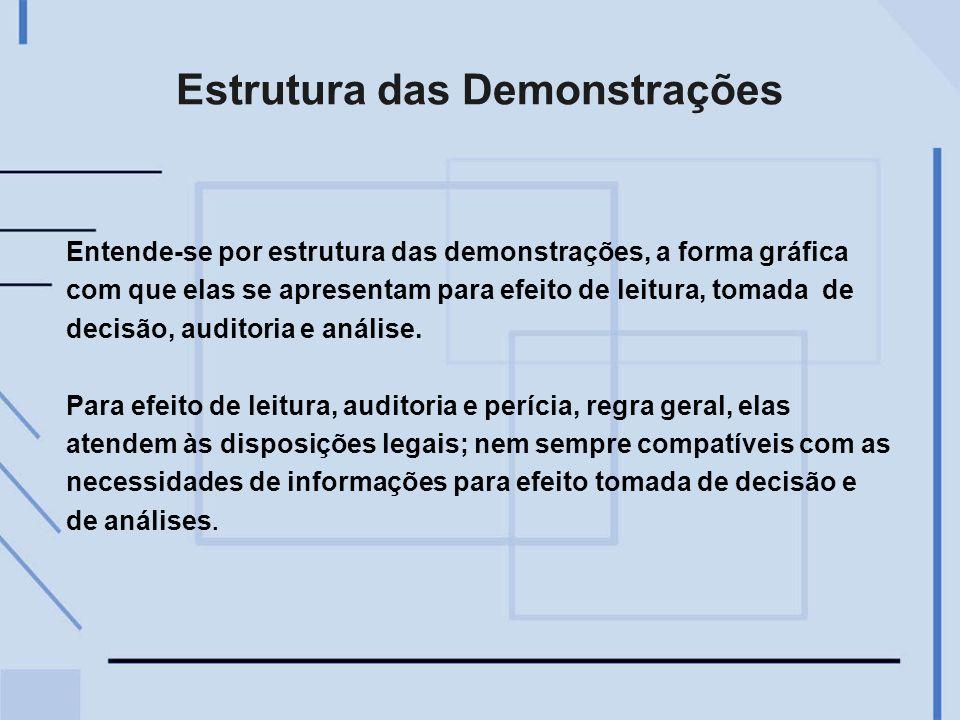 Estrutura das Demonstrações Entende-se por estrutura das demonstrações, a forma gráfica com que elas se apresentam para efeito de leitura, tomada de d