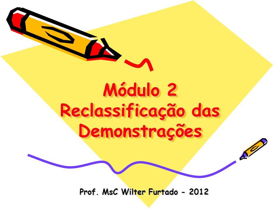 Módulo 2 Reclassificação das Demonstrações Prof. MsC Wilter Furtado - 2012