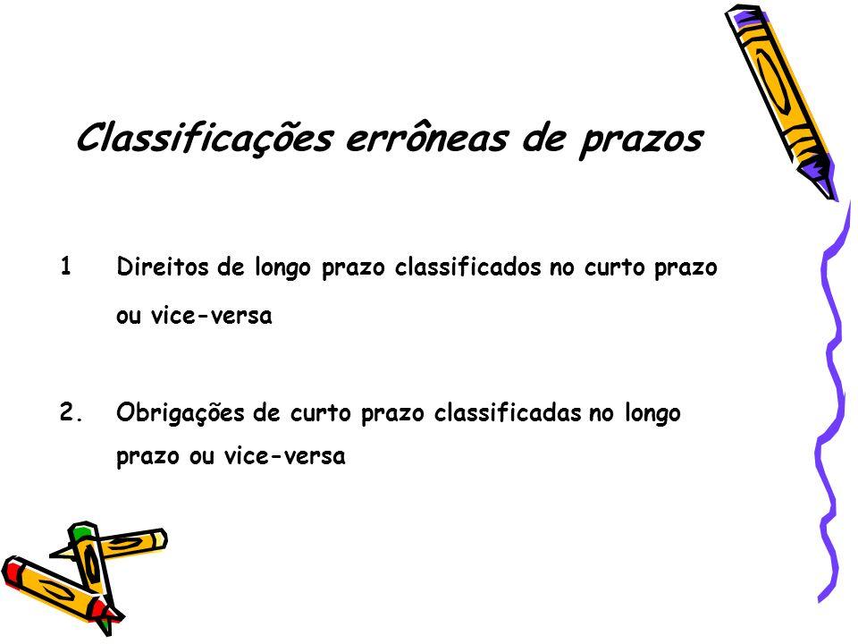 Classificações errôneas de prazos 1Direitos de longo prazo classificados no curto prazo ou vice-versa 2.Obrigações de curto prazo classificadas no lon