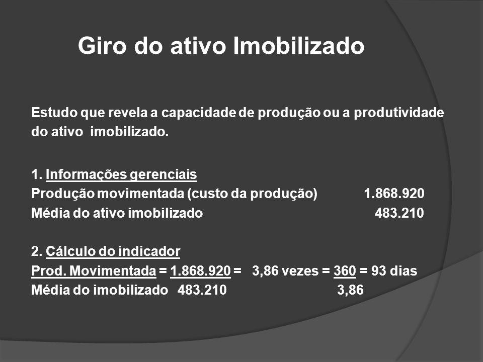 Giro do ativo Imobilizado Estudo que revela a capacidade de produção ou a produtividade do ativo imobilizado. 1. Informações gerenciais Produção movim