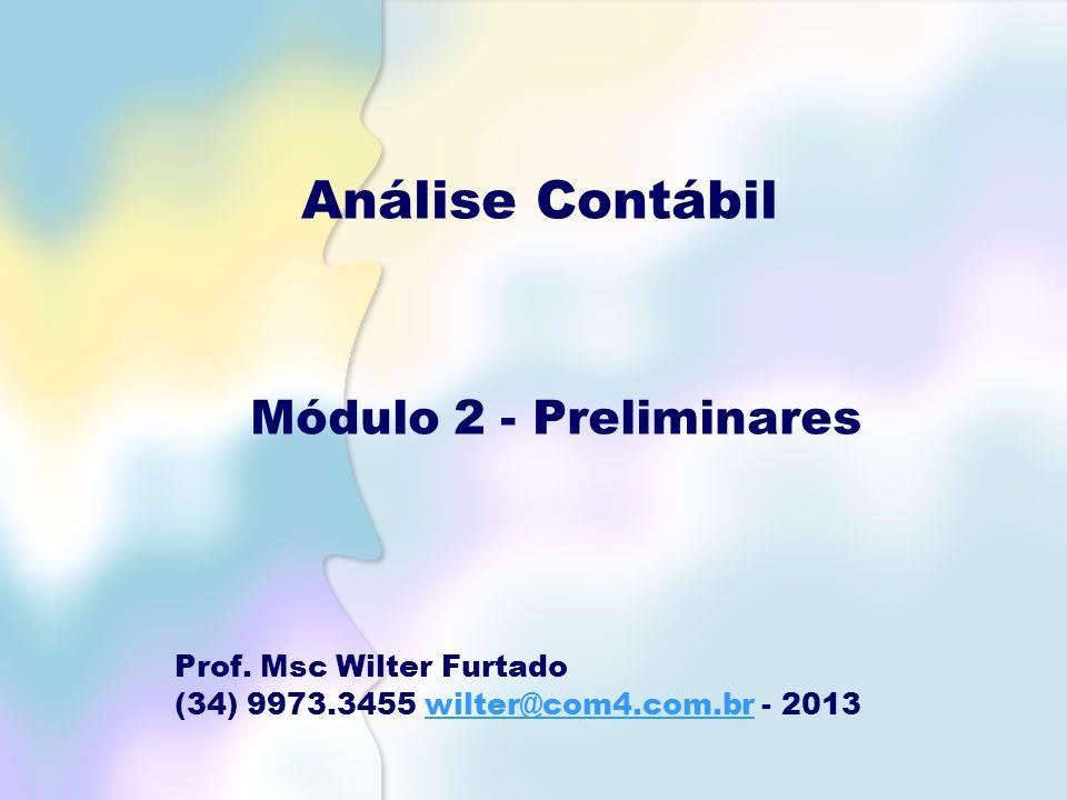 Análise Contábil Módulo 2 - Preliminares Prof. Msc Wilter Furtado (34) 9973.3455 wilter@com4.com.br - 2013wilter@com4.com.br