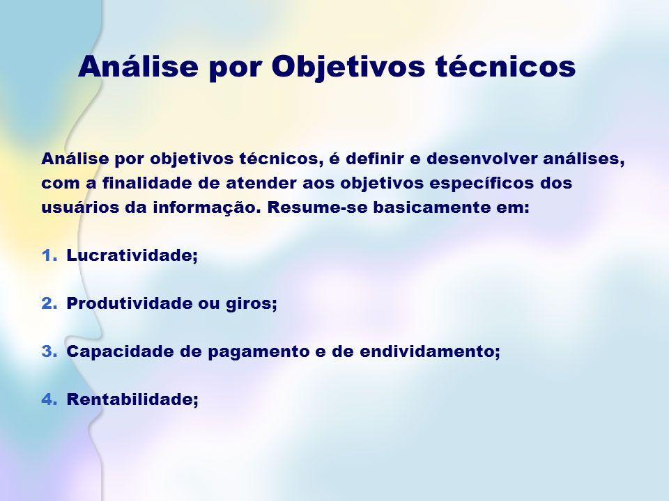 Análise por Objetivos técnicos Análise por objetivos técnicos, é definir e desenvolver análises, com a finalidade de atender aos objetivos específicos