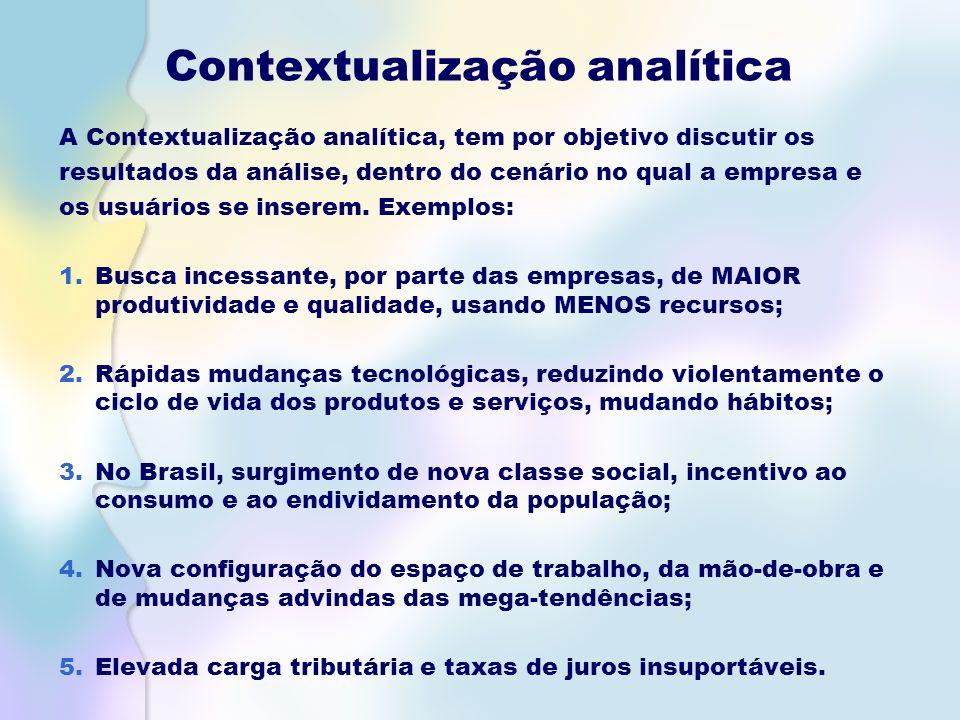 Contextualização analítica A Contextualização analítica, tem por objetivo discutir os resultados da análise, dentro do cenário no qual a empresa e os usuários se inserem.