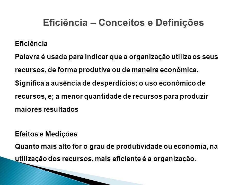 Eficiência – Conceitos e Definições Eficiência Palavra é usada para indicar que a organização utiliza os seus recursos, de forma produtiva ou de manei