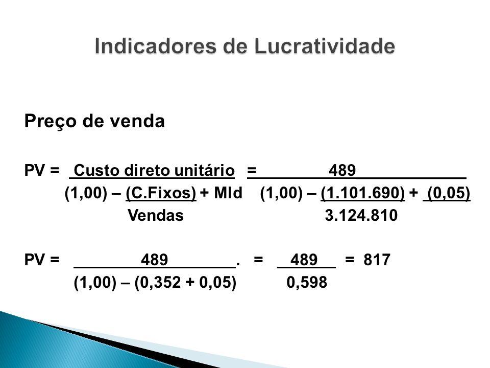 Preço de venda PV = Custo direto unitário = 489____________ (1,00) – (C.Fixos) + Mld (1,00) – (1.101.690) + (0,05) Vendas 3.124.810 PV = 489. = 489 =