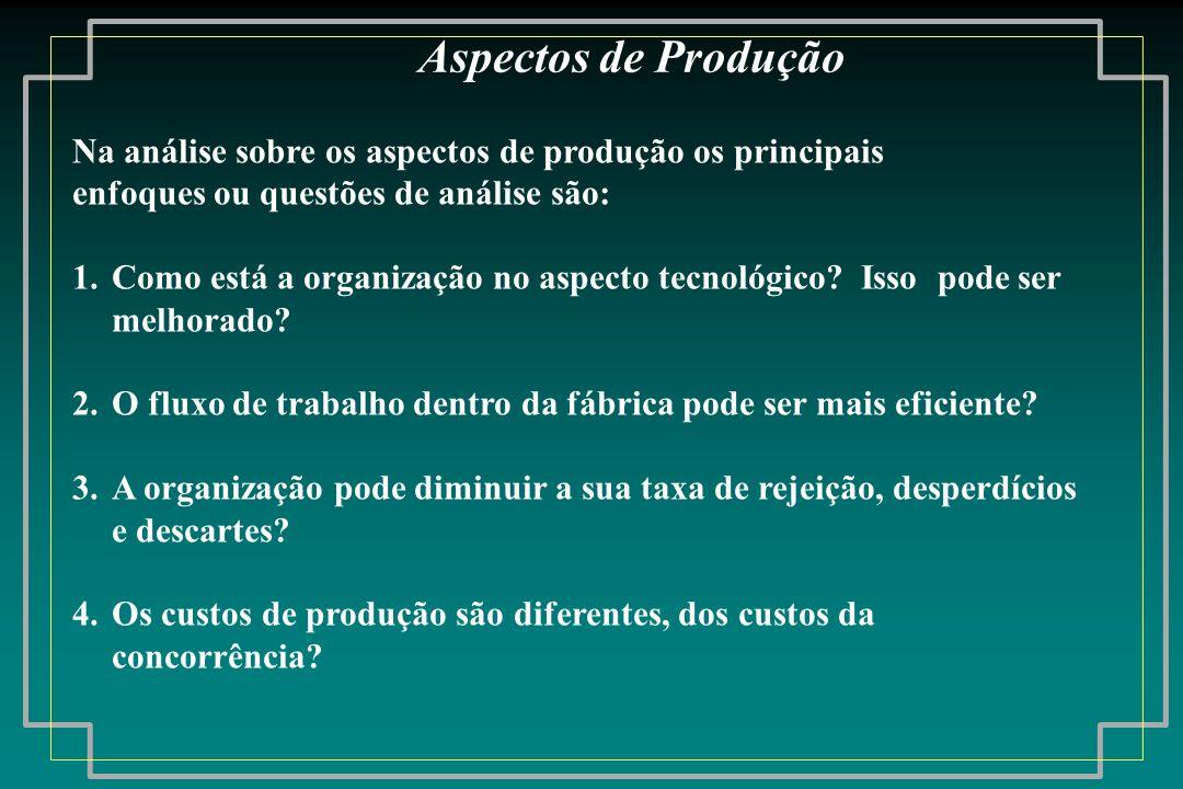 Na análise sobre os aspectos de produção os principais enfoques ou questões de análise são: 1.Como está a organização no aspecto tecnológico? Isso pod