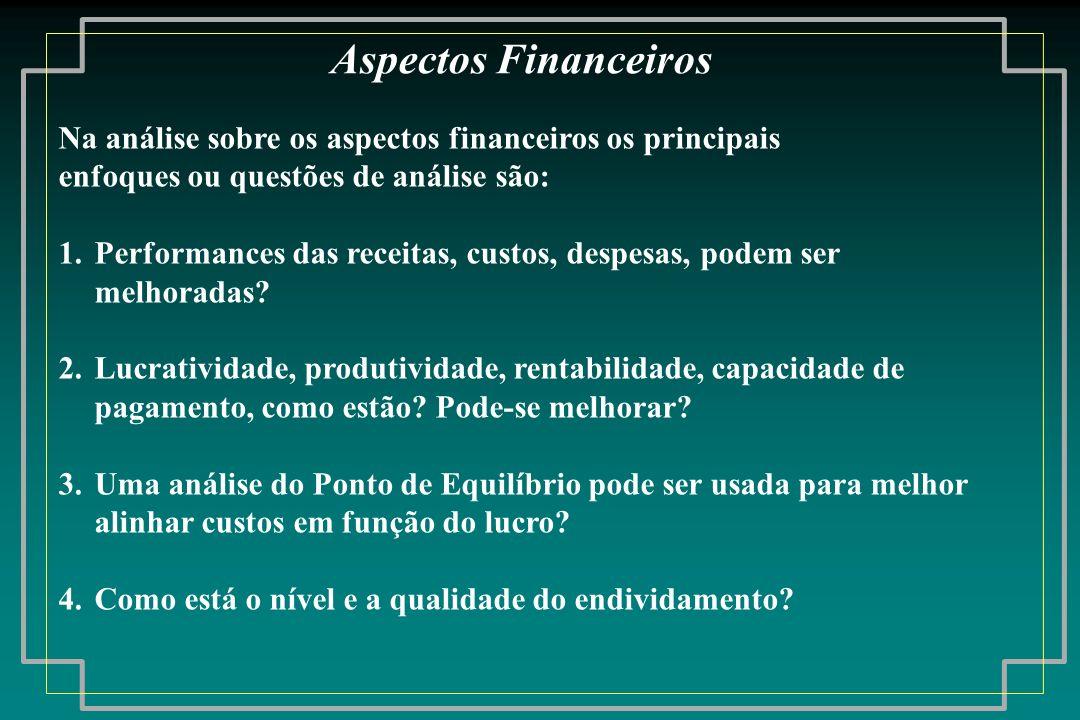Na análise sobre os aspectos financeiros os principais enfoques ou questões de análise são: 1.Performances das receitas, custos, despesas, podem ser m