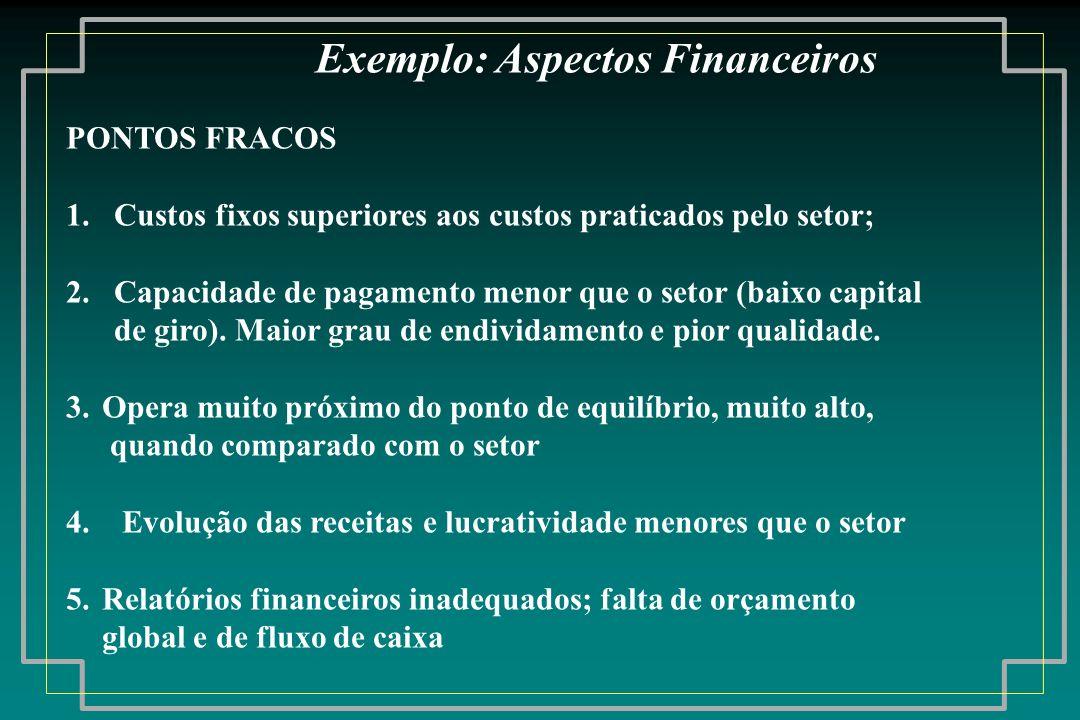 PONTOS FRACOS 1. Custos fixos superiores aos custos praticados pelo setor; 2. Capacidade de pagamento menor que o setor (baixo capital de giro). Maior