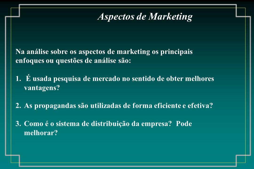 Na análise sobre os aspectos de marketing os principais enfoques ou questões de análise são: 1. É usada pesquisa de mercado no sentido de obter melhor