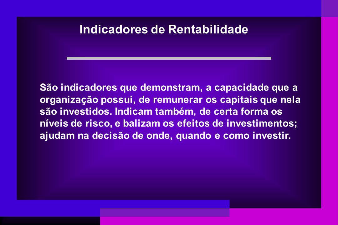 Usuários dos Indicadores São usados geralmente pelos grupos de interessados em promover investimentos na empresa (investidores, financiadores, fornecedores, acionistas, empregados, clientes, etc) (Stackholders) como fonte de rendimentos, de retornos ou de remuneração de capitais.