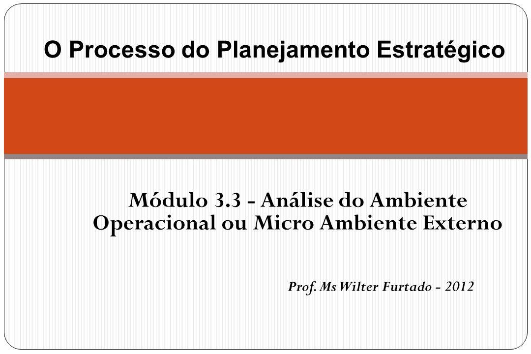 Módulo 3.3 - Análise do Ambiente Operacional ou Micro Ambiente Externo Prof. Ms Wilter Furtado - 2012 O Processo do Planejamento Estratégico