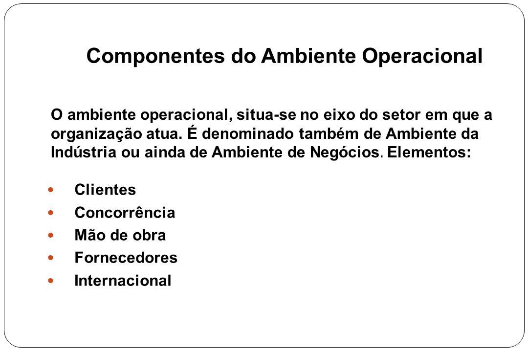 Componentes do Ambiente Operacional Clientes Concorrência Mão de obra Fornecedores Internacional O ambiente operacional, situa-se no eixo do setor em