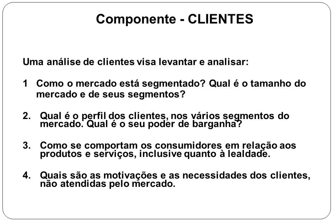 Componente - CLIENTES Uma análise de clientes visa levantar e analisar: 1 Como o mercado está segmentado? Qual é o tamanho do mercado e de seus segmen