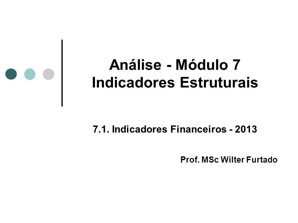 Análise - Módulo 7 Indicadores Estruturais 7.1. Indicadores Financeiros - 2013 Prof. MSc Wilter Furtado