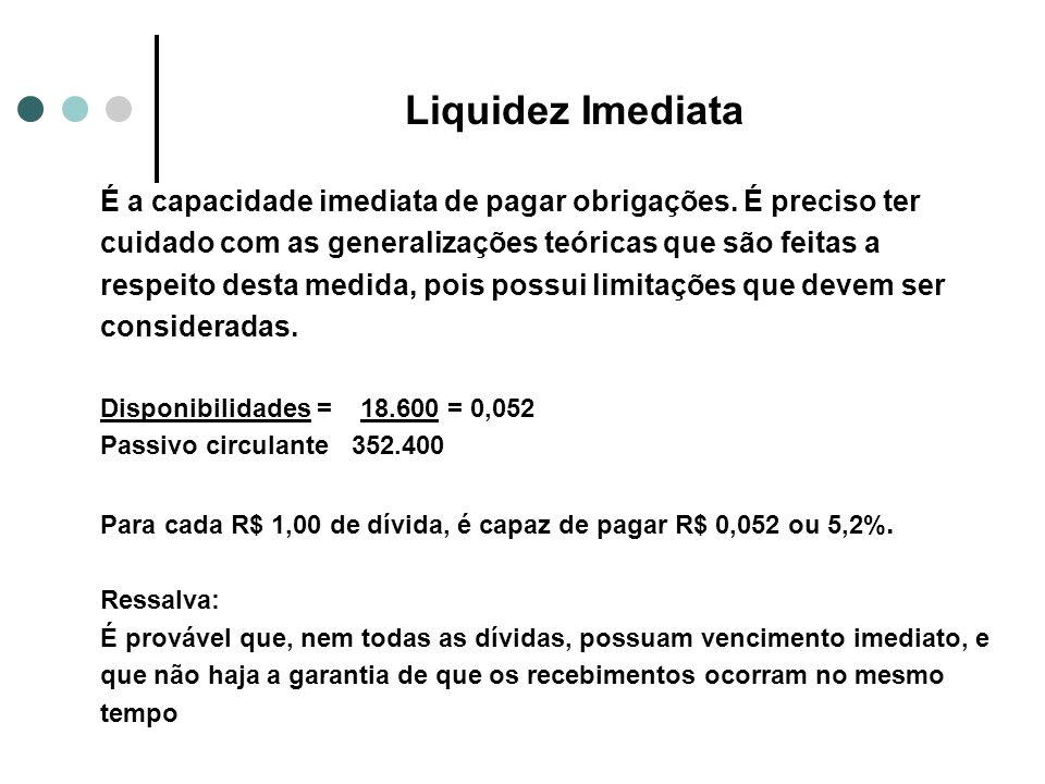 Liquidez Imediata É a capacidade imediata de pagar obrigações. É preciso ter cuidado com as generalizações teóricas que são feitas a respeito desta me