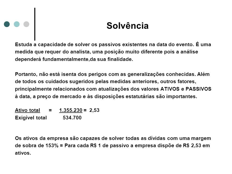 Solvência Estuda a capacidade de solver os passivos existentes na data do evento. É uma medida que requer do analista, uma posição muito diferente poi