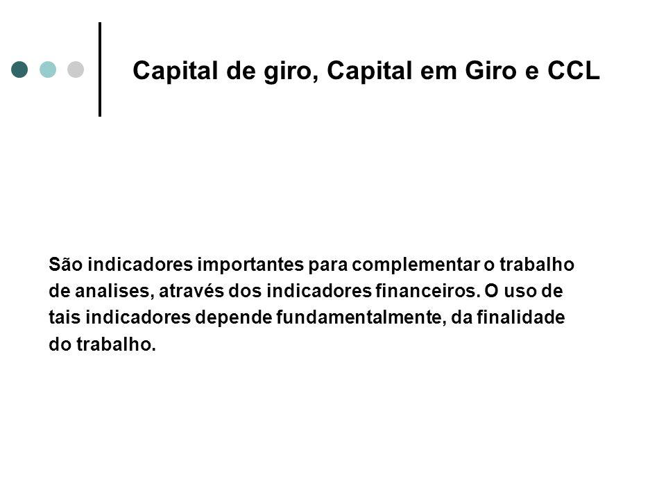 Capital de giro, Capital em Giro e CCL São indicadores importantes para complementar o trabalho de analises, através dos indicadores financeiros. O us