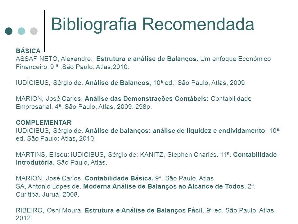 Bibliografia Recomendada BÁSICA ASSAF NETO, Alexandre. Estrutura e análise de Balanços. Um enfoque Econômico Financeiro. 9 ª.São Paulo, Atlas,2010. IU