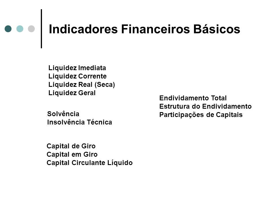 Indicadores Financeiros Básicos Endividamento Total Estrutura do Endividamento Participações de Capitais Liquidez Imediata Liquidez Corrente Liquidez
