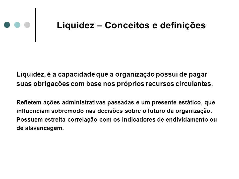 Liquidez – Conceitos e definições Liquidez, é a capacidade que a organização possui de pagar suas obrigações com base nos próprios recursos circulante