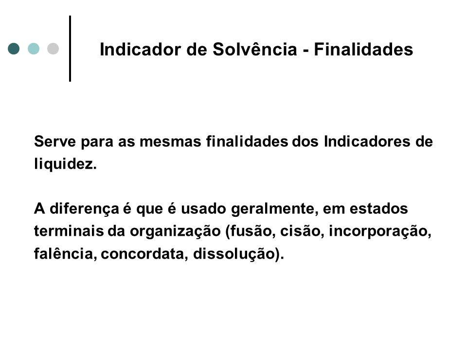 Indicador de Solvência - Finalidades Serve para as mesmas finalidades dos Indicadores de liquidez. A diferença é que é usado geralmente, em estados te