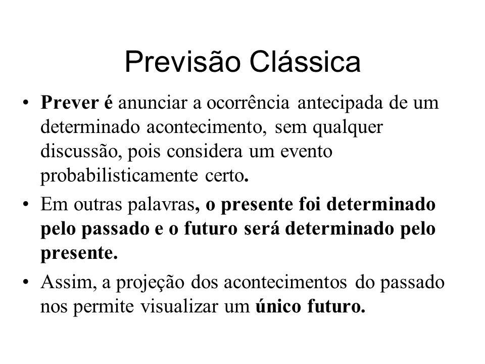 Previsão Clássica Prever é anunciar a ocorrência antecipada de um determinado acontecimento, sem qualquer discussão, pois considera um evento probabil