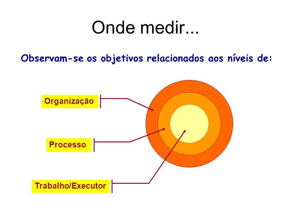Onde medir... Observam-se os objetivos relacionados aos níveis de: Organização Processo Trabalho/Executor