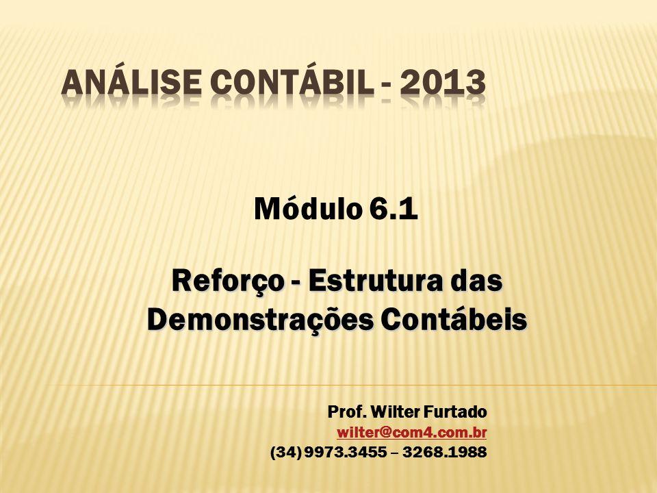 Reforço - Estrutura das Demonstrações Contábeis Módulo 6.1 Prof. Wilter Furtado wilter@com4.com.br (34) 9973.3455 – 3268.1988