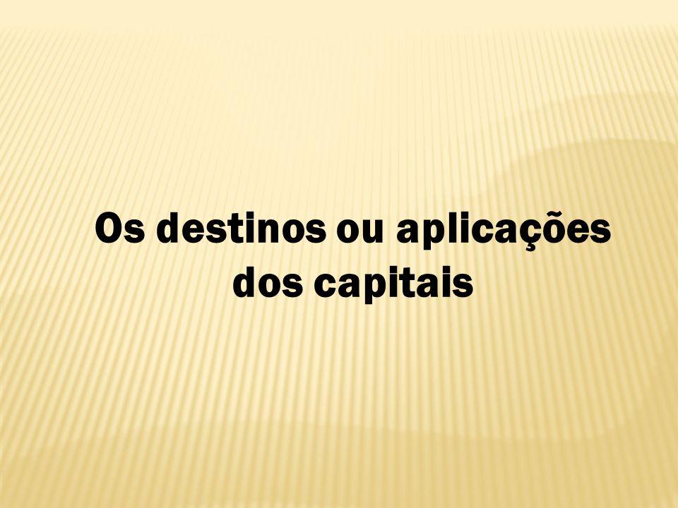 Os destinos ou aplicações dos capitais