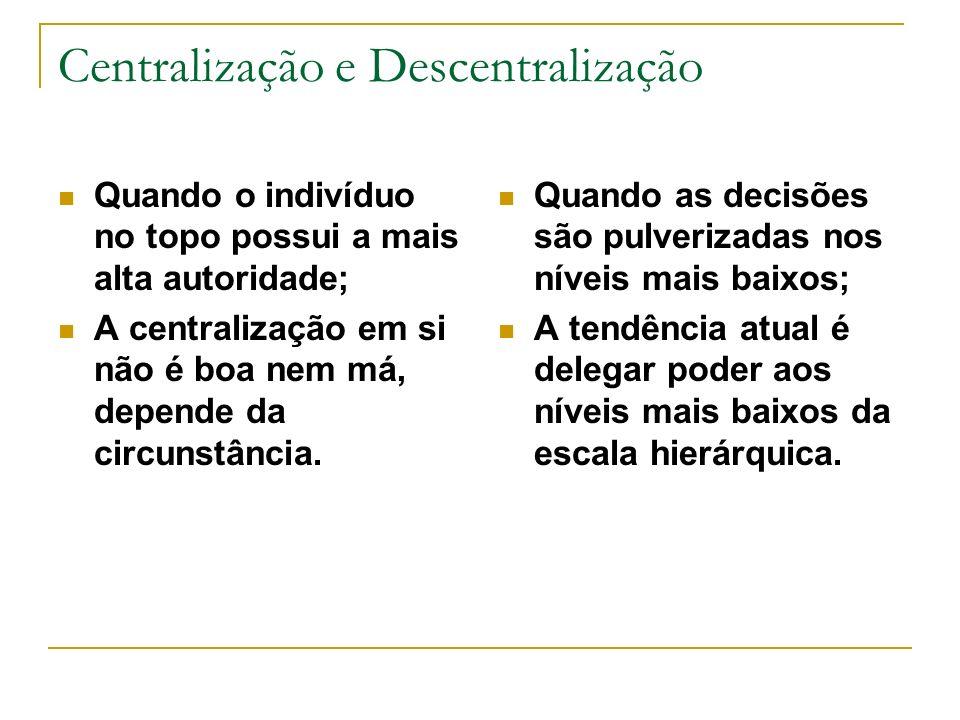 Centralização e Descentralização Quando o indivíduo no topo possui a mais alta autoridade; A centralização em si não é boa nem má, depende da circunstância.
