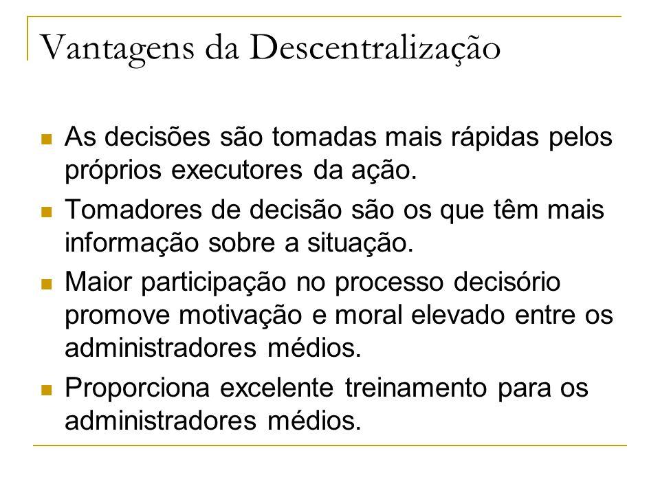 Vantagens da Descentralização As decisões são tomadas mais rápidas pelos próprios executores da ação.