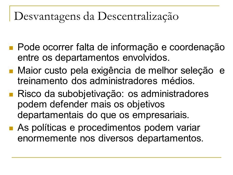 Desvantagens da Descentralização Pode ocorrer falta de informação e coordenação entre os departamentos envolvidos.