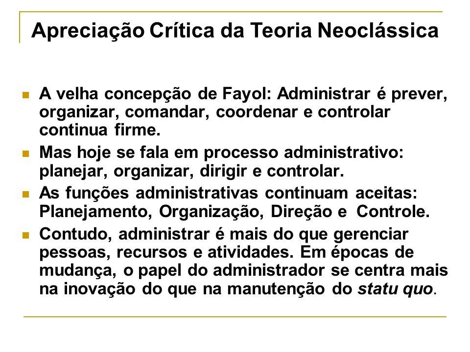 A velha concepção de Fayol: Administrar é prever, organizar, comandar, coordenar e controlar continua firme.