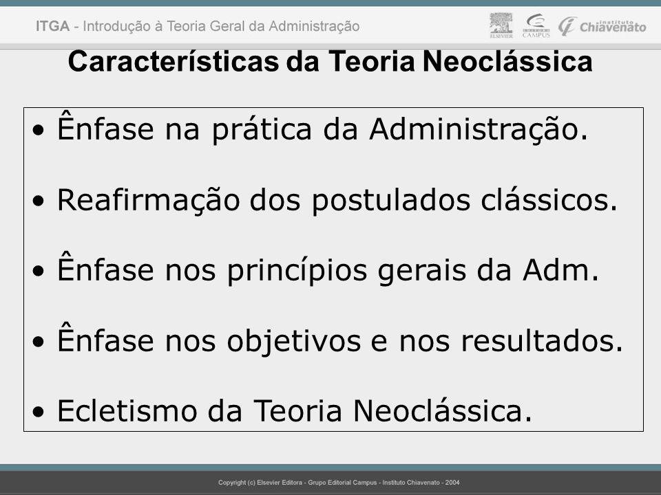 Características da Teoria Neoclássica Ênfase na prática da Administração.