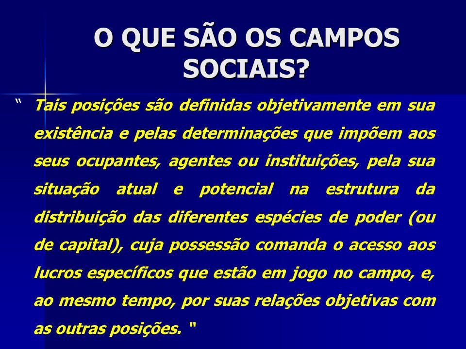 O QUE SÃO OS CAMPOS SOCIAIS? Tais posições são definidas objetivamente em sua existência e pelas determinações que impõem aos seus ocupantes, agentes