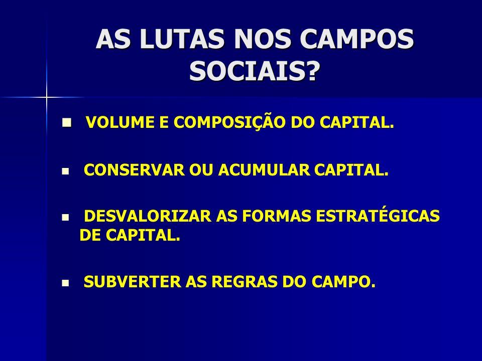 AS LUTAS NOS CAMPOS SOCIAIS? VOLUME E COMPOSIÇÃO DO CAPITAL. CONSERVAR OU ACUMULAR CAPITAL. DESVALORIZAR AS FORMAS ESTRATÉGICAS DE CAPITAL. SUBVERTER