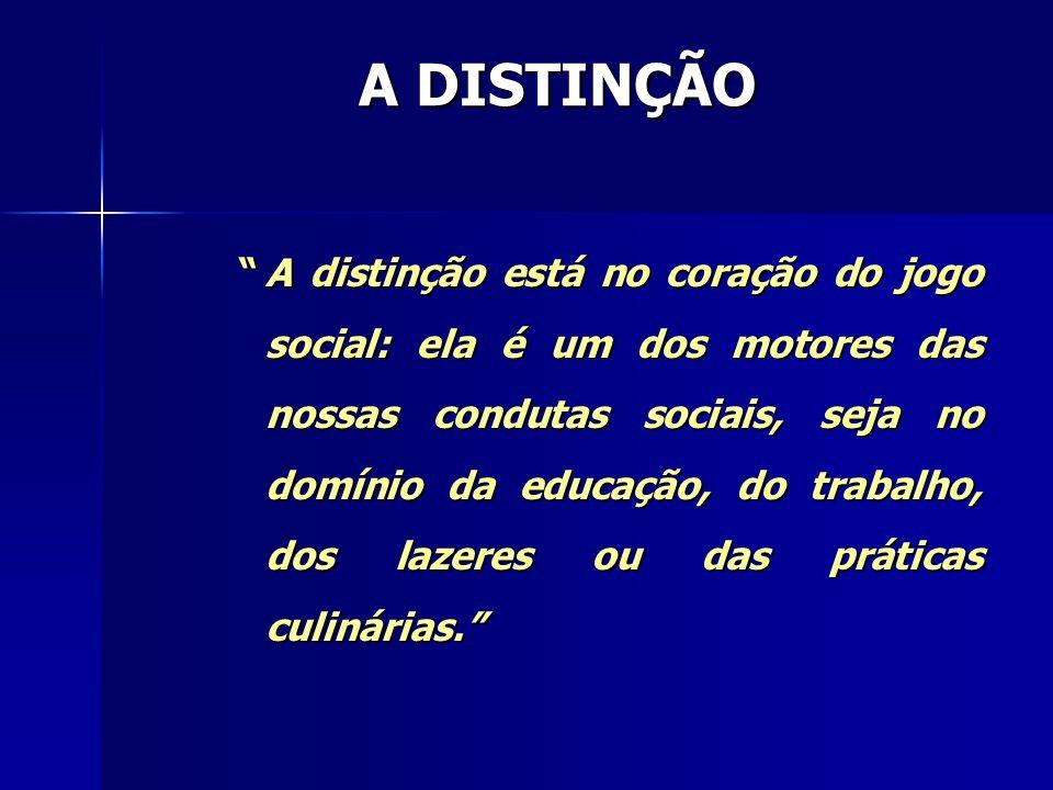 A distinção está no coração do jogo social: ela é um dos motores das nossas condutas sociais, seja no domínio da educação, do trabalho, dos lazeres ou
