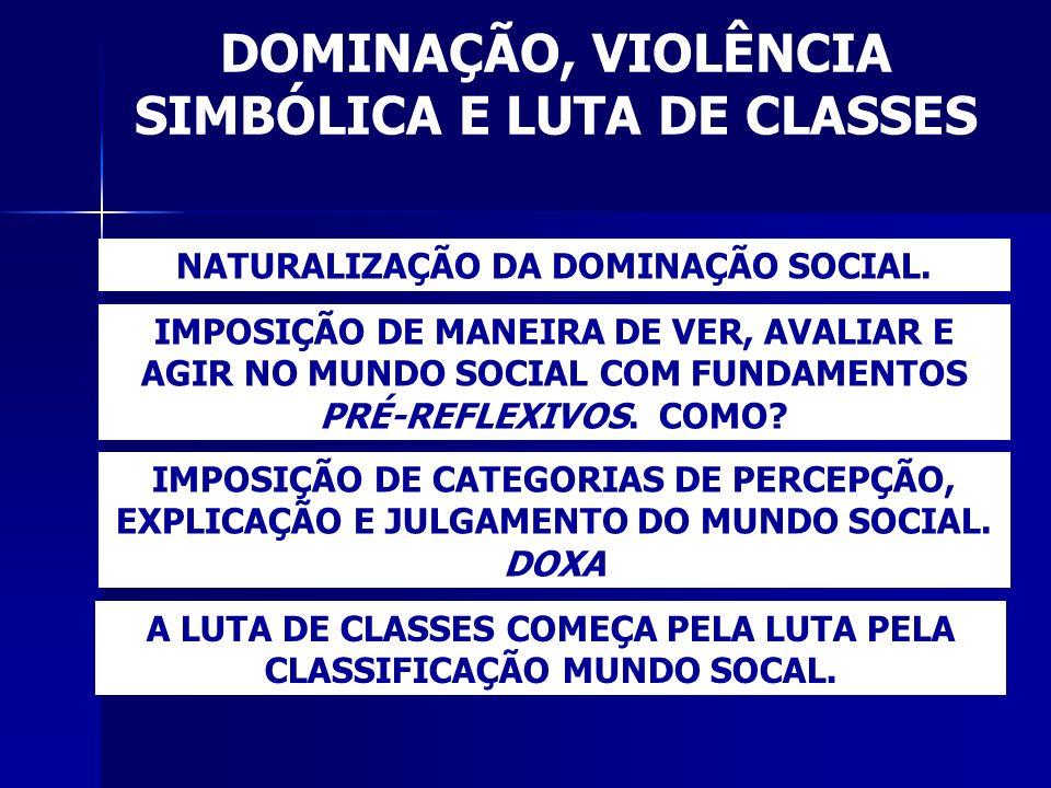 DOMINAÇÃO, VIOLÊNCIA SIMBÓLICA E LUTA DE CLASSES NATURALIZAÇÃO DA DOMINAÇÃO SOCIAL. IMPOSIÇÃO DE MANEIRA DE VER, AVALIAR E AGIR NO MUNDO SOCIAL COM FU