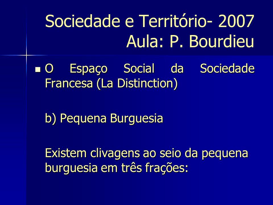Sociedade e Território- 2007 Aula: P. Bourdieu O Espaço Social da Sociedade Francesa (La Distinction) O Espaço Social da Sociedade Francesa (La Distin