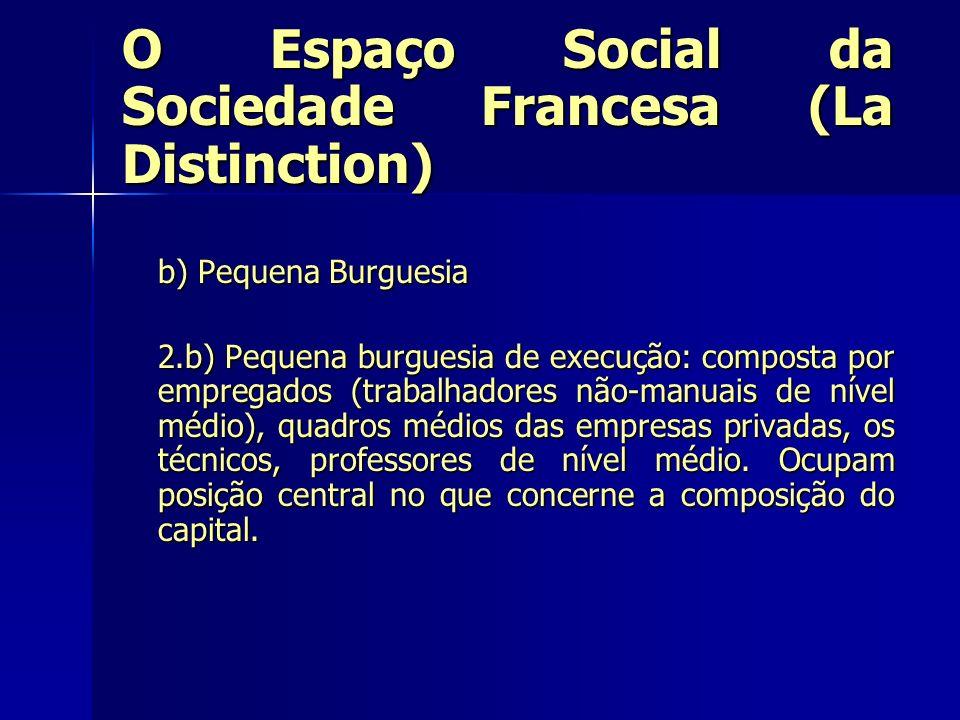 O Espaço Social da Sociedade Francesa (La Distinction) b) Pequena Burguesia 2.b) Pequena burguesia de execução: composta por empregados (trabalhadores
