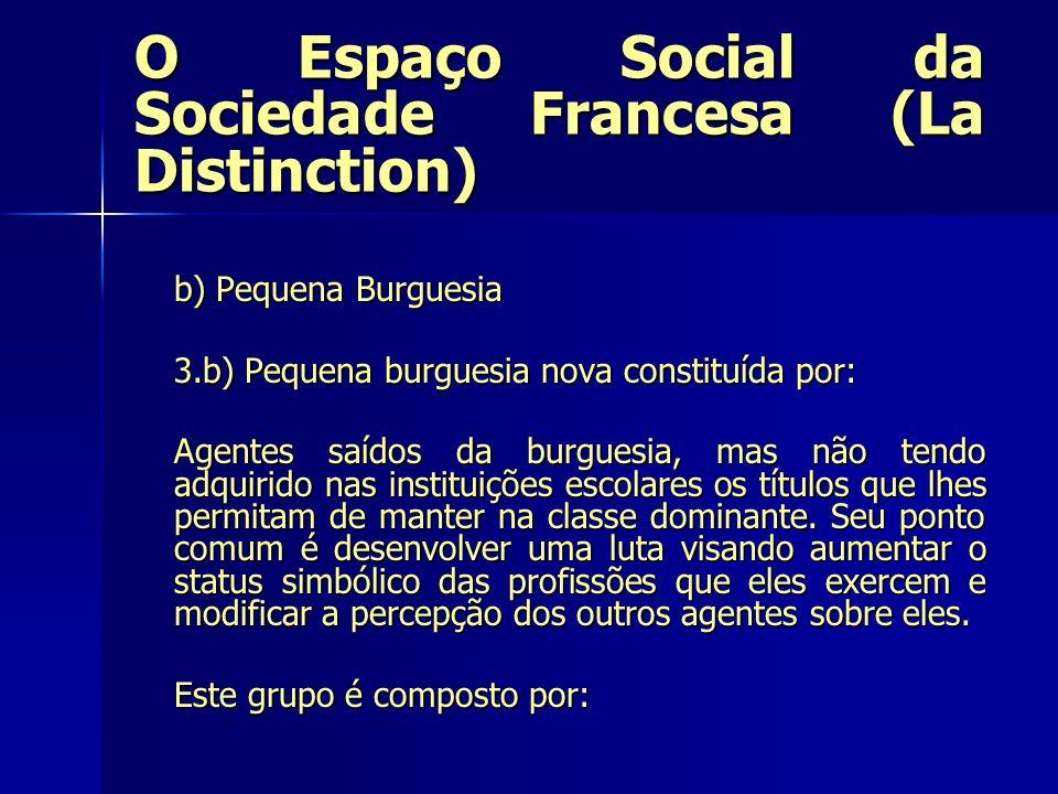 O Espaço Social da Sociedade Francesa (La Distinction) b) Pequena Burguesia 3.b) Pequena burguesia nova constituída por: Agentes saídos da burguesia,