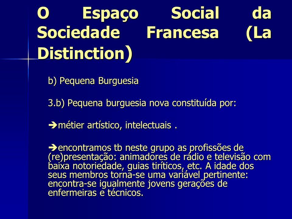 O Espaço Social da Sociedade Francesa (La Distinction ) b) Pequena Burguesia 3.b) Pequena burguesia nova constituída por: métier artístico, intelectua