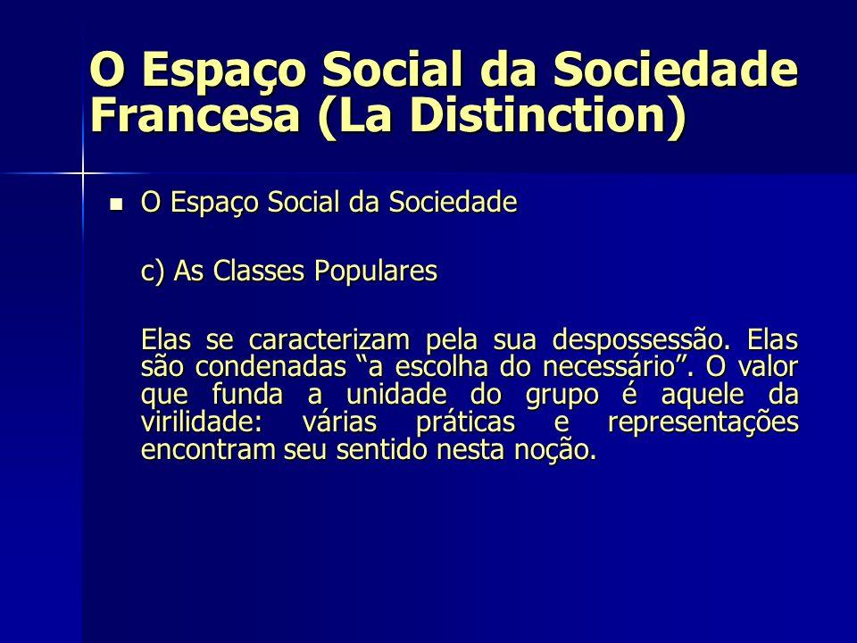 O Espaço Social da Sociedade Francesa (La Distinction) O Espaço Social da Sociedade O Espaço Social da Sociedade c) As Classes Populares Elas se carac